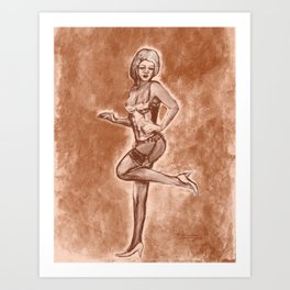 vintage style art pinup girl in lingerie Art Print