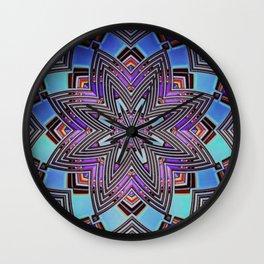 Geometric Blues Mandala Wall Clock