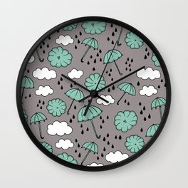 Blue umbrella sky rainy day abstract fall illustration pattern blue Wall Clock