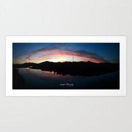 Cascade Sunset Panorama Art Print
