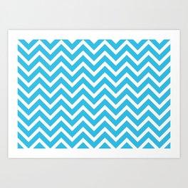 sky blue, white zig zag pattern design Art Print