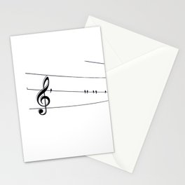 Natures Choir Birds on Wire Music Note A611W Stationery Cards