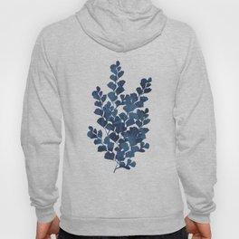 Blue watercolor maidenhair fern Hoody