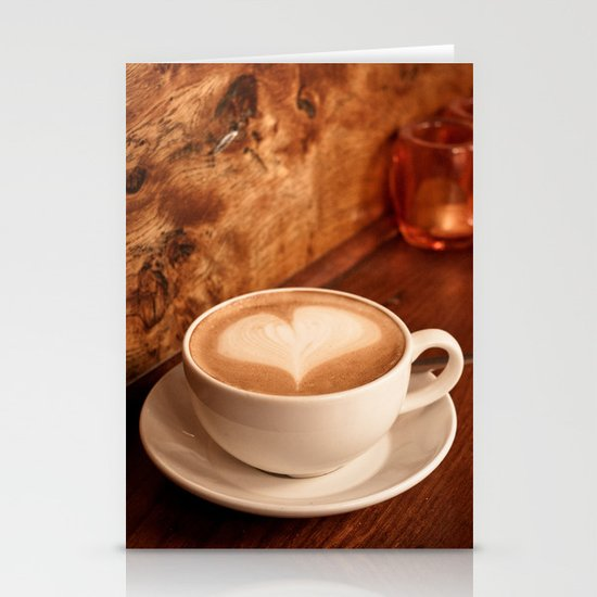 white coffee heart Stationery Cards