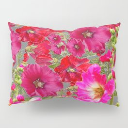 AWESOME FUCHSIA  RED HOLLYHOCKS GARDEN GREY ART Pillow Sham