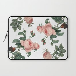 Rose Garden Butterfly Pink on White Laptop Sleeve