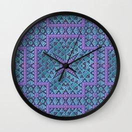 Geometric Mandala in Aqua and Lavender Wall Clock