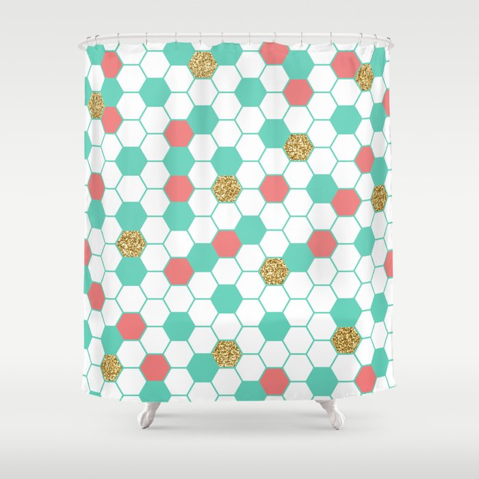 Mint Coral Gold Glitter Honeycomb Scatter Shower Curtain
