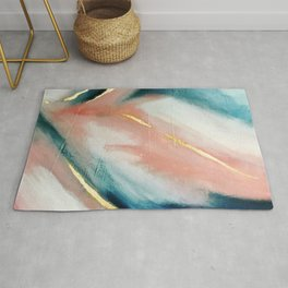 Celestial [3]: a minimal abstract mixed-media piece in Pink, Blue, and gold by Alyssa Hamilton Art Rug