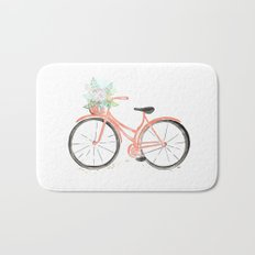 Coral Spring bicycle with flowers Bath Mat