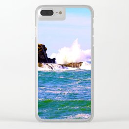 Breakers Point Rocks Clear iPhone Case
