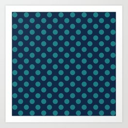 Large Polka Dots in Teal on Navy Blue Art Print