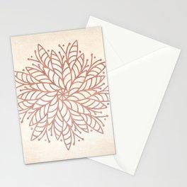 Flowery Rose Gold Mandala on Cream II Stationery Cards