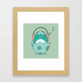 Kawaii Cute Music Loving Bird Framed Art Print