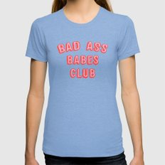 BAD ASS BABES CLUB Tri-Blue Womens Fitted Tee MEDIUM