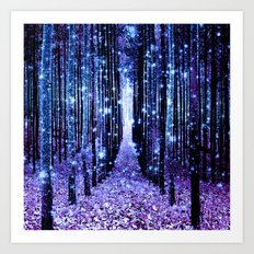 Magical Forest Turquoise Purple Art Print