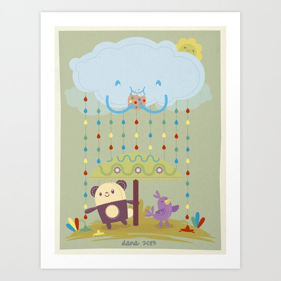 color raindrops keep falling on my head Art Print