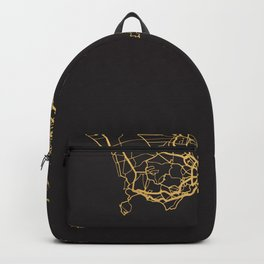NAPLES ITALY GOLD ON BLACK CITY MAP Backpack