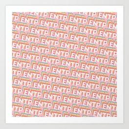 ENTP Trendy Rainbow Text Pattern (Pink) Art Print
