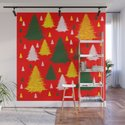 green gold silver Christmas trees on red background by katerina_ez