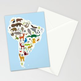 South America sloth anteater toucan lama bat fur seal armadillo boa manatee monkey dolphin Stationery Cards