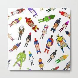 Superhero Butts with Villians - Light Pattern Metal Print