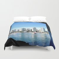 vancouver Duvet Covers featuring Vancouver blue by amberino