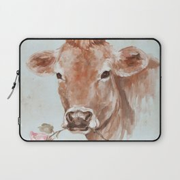 Cow with Rose by Debi Coules Laptop Sleeve