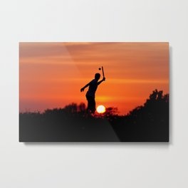 Playing in the sunset Metal Print