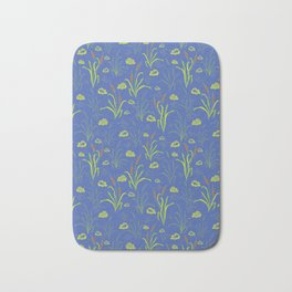 Bright Blue Pond Water With Bullrushes Bath Mat