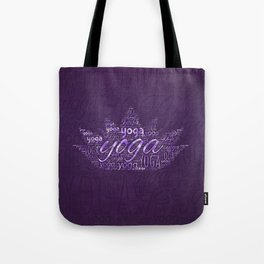 Yoga Word Art in Lotus shape on  Purple Tote Bag