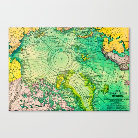 Colorful Map of the North Pole - Vintage Canvas Print