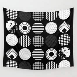 Ecelctic Geometric 2 - Black and white multi patterned design Wall Tapestry