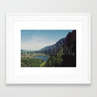 never stop exploring Framed Art Prints featuring Never Stop Exploring by Leah Flores