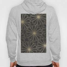 Modern elegant black faux gold hand painted floral Hoody
