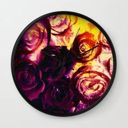 burning roses Wall Clock