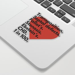 Types of congenital heart defects - for CHD awareness Sticker