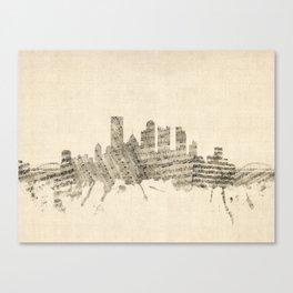 Pittsburgh Pennsylvania Skyline Sheet Music Cityscape Canvas Print