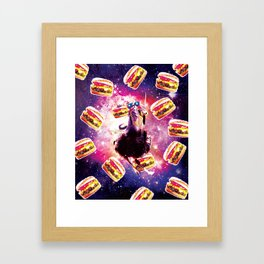 Thug Space Cat On Ostrich Unicorn - Burger Framed Art Print