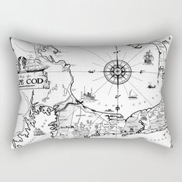 Vintage Map of Cape Cod BW Rectangular Pillow