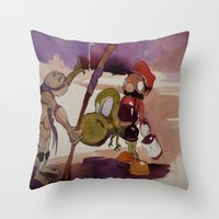 ninja turtle Throw Pillows featuring ninja turtle and mario by joseph Leonard