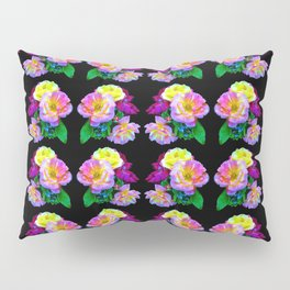 Rosa Yellow Roses on Black Pattern Pillow Sham