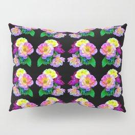 Rosa Yellow Roses on Black Pattern Pillow Sham