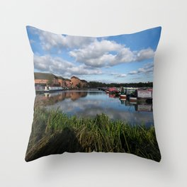 Barton Marina Narrow Boats Throw Pillow