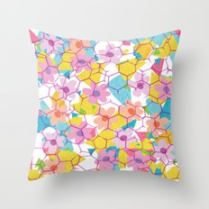Digital spring flowers behind grid Throw Pillow
