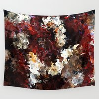 jasmine Wall Tapestries featuring Jasmine and Columbine Abstract by Moody Muse