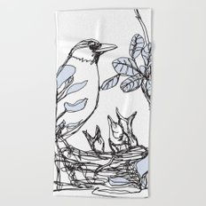 Robin's Nest (a one-line drawing) Beach Towel