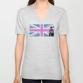 Union Jack with Big Ben - Pink and Purple Unisex V-Neck