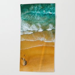 Ocean Waves Crushing On Beach, Drone Photography, Aerial Photo, Ocean Wall Art Print Decor Beach Towel