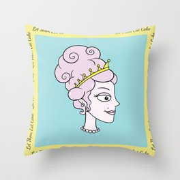 Let Them Eat Cake (blue with yellow border) by Blissikins  Throw Pillow